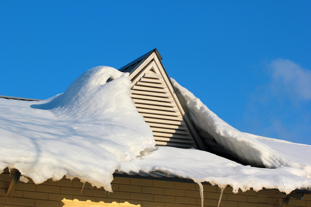 Roof with snow and ice on it